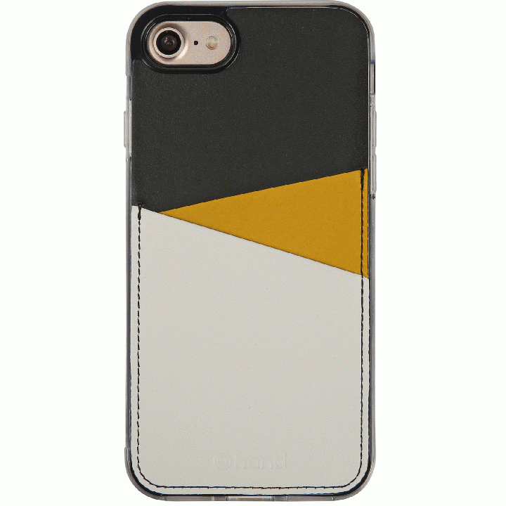 【iPhone7 Plusケース】背面カードポケットケース @hand スラッシュ イエロー iPhone 7 Plus_0
