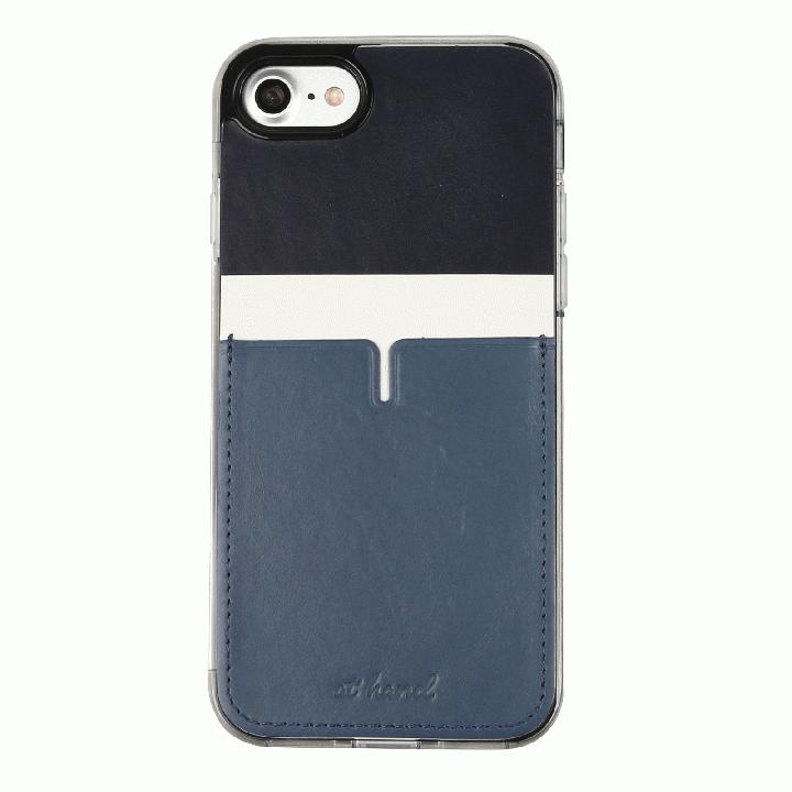 背面カードポケットケース @hand ハイフン ネイビー iPhone 7