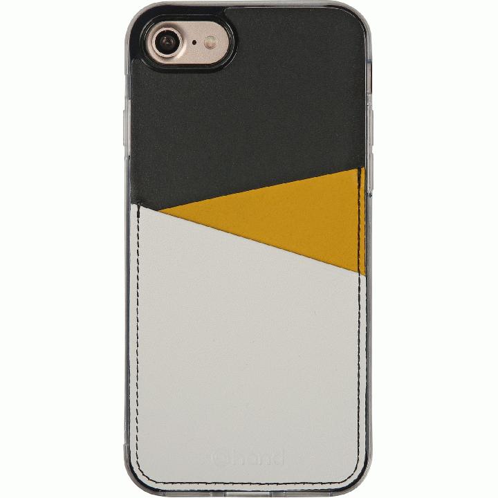 背面カードポケットケース @hand スラッシュ イエロー iPhone 7