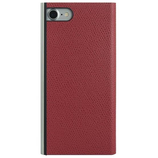 iPhone8/7 ケース パワーサポート 本牛革型押し手帳型ケース レッド iPhone 8/7_0