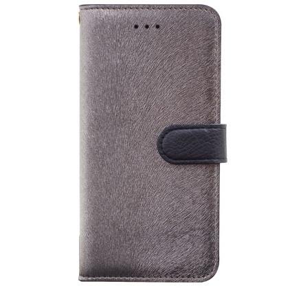 イタリアンPUレザー手帳型ケース CALF Diary メタルブラック iPhone 6s/6