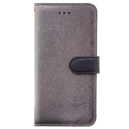 イタリアンPUレザー手帳型ケース CALF Diary メタルブラック iPhone 6s Plus/6 Plus