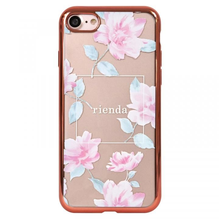 iPhone8 ケース rienda メッキクリアケース Lace Flower/ピンク iPhone 8_0