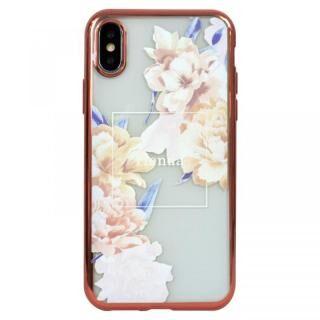 iPhone XS ケース rienda メッキクリアケース Reversi Flower/ベージュ iPhoen XS