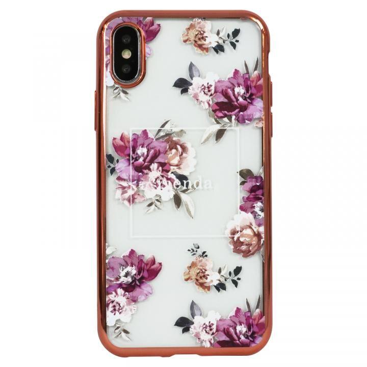 iPhone XS ケース rienda メッキクリアケース Brilliant Flower/バーガンディー iPhoen XS_0