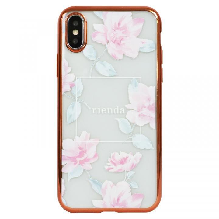 iPhone XS ケース rienda メッキクリアケース Lace Flower/ピンク iPhoen XS_0