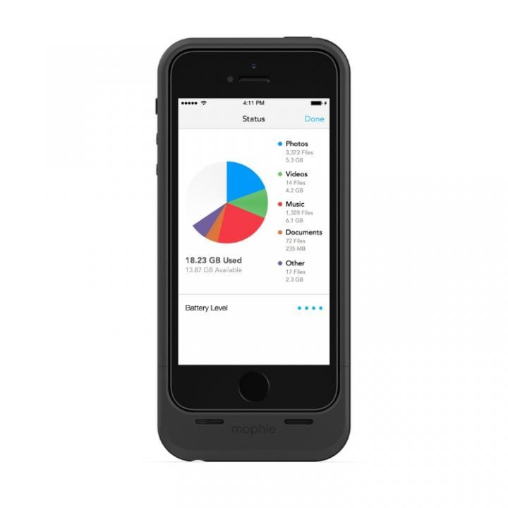 ストレージ内蔵バッテリーケース mophie space pack 16GB ブラック iPhone SE/5s/5