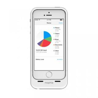 ストレージ内蔵バッテリーケース mophie space pack 16GB ホワイト iPhone SE/5s/5