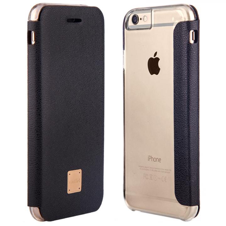 イタリア産カウハイドレザー使用手帳型ケース truffol Reveal ブラック iPhone 6