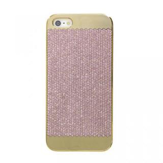 【iPhone SE/5s/5ケース】スイスデザイン スワロフスキーケース ゴールド(Pink Swarovski) iPhone SE/5s/5ケース