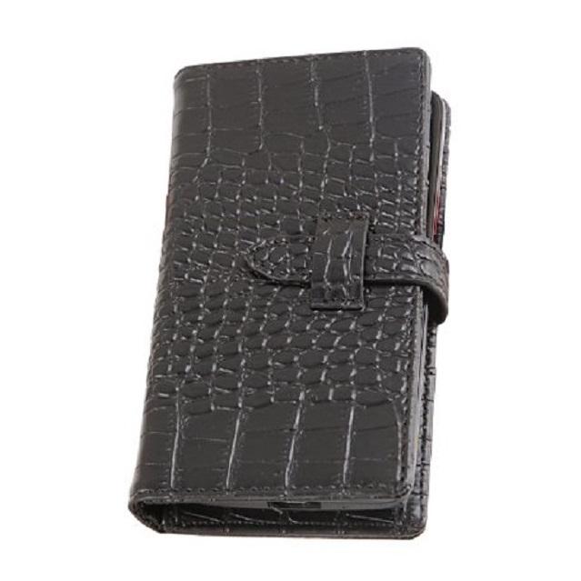 iPhone SE/5s/5 ケース カードが10枚収納できる スマホ全機種対応 手帳型ケース ブラック_0