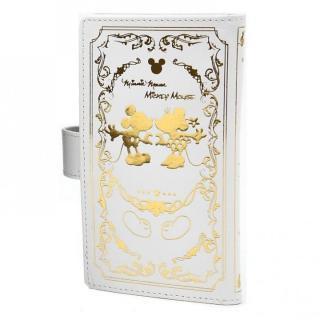 カードが10枚収納できる スマホ全機種対応 手帳型ケース ミッキー ホワイト