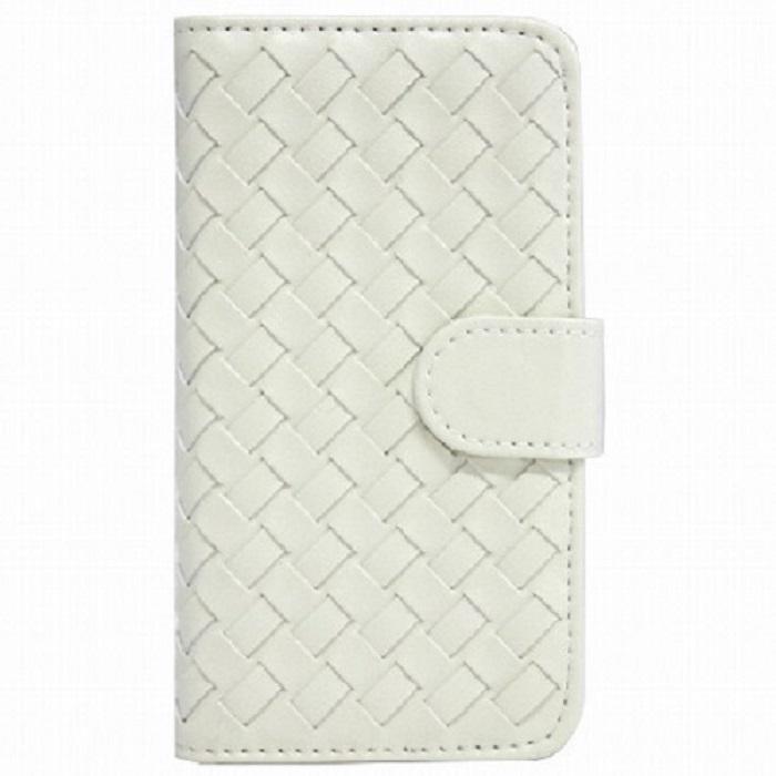 【iPhone SE/5s/5ケース】編み込みレザーが大人っぽい 横開きレザー手帳型ケース ホワイト iPhone SE/5s/5ケース_0