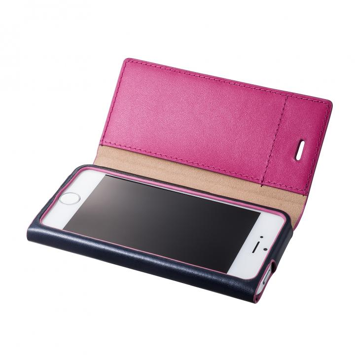 iPhone SE/5s/5 ケース GRAMAS One-Sheet Leather2 ネイビー/ピンク iPhone SE/5s/5 手帳型ケース_0