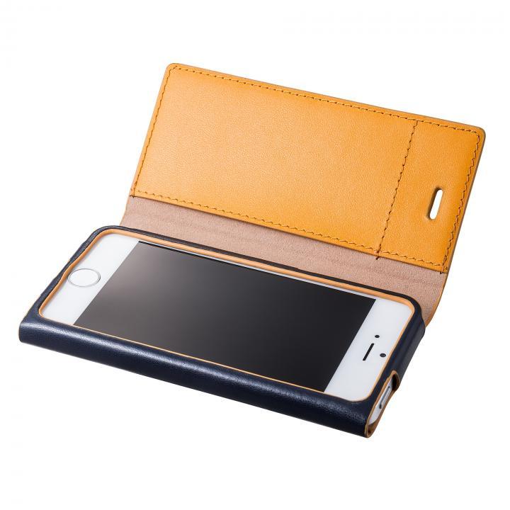GRAMAS One-Sheet Leather2 ネイビー/イエロー iPhone SE/5s/5 手帳型ケース