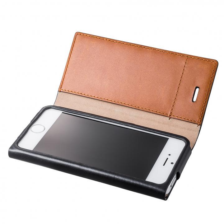 iPhone SE/5s/5 ケース GRAMAS One-Sheet Leather2 ブラック/タン iPhone SE/5s/5 手帳型ケース_0