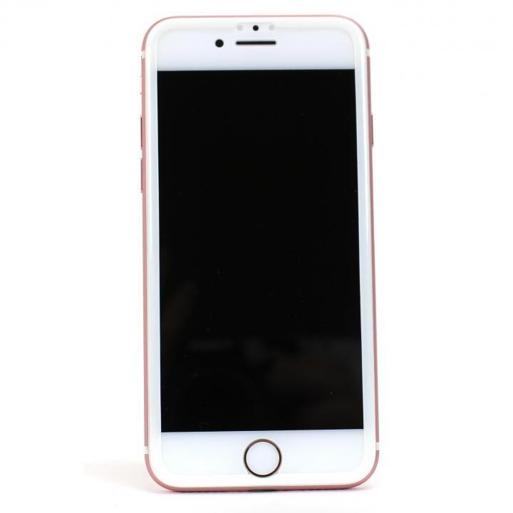 iPhone7 Plus フィルム TPUフレーム付き超高度強化ガラスフィルム for iPhone 7 Plus ホワイト_0