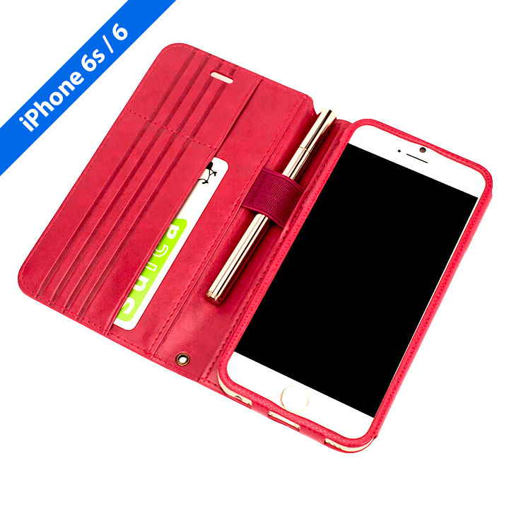 Su-Penホルダー付き 最薄 手帳型レザーケース  iPhone 6s/6