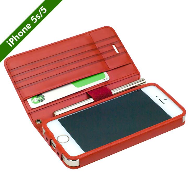 iPhone SE/5s/5 ケース Su-Penホルダー付き 最薄 手帳型レザーケース  iPhone SE/5s/5_0
