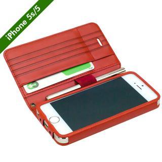 【7月下旬】Su-Penホルダー付き 最薄 手帳型レザーケース for iPhone 5s/5