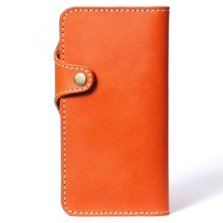 【iPhone6ケース】栃木レザー手帳型左開きケース HUKURO オレンジ iPhone 6_0