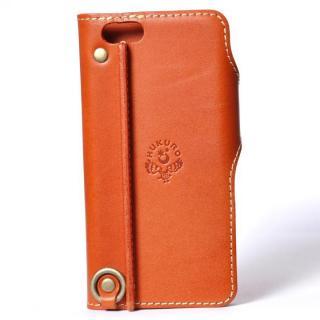 【iPhone6ケース】栃木レザー手帳型左開きケース HUKURO オレンジ iPhone 6_1