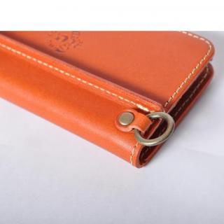 【iPhone6ケース】栃木レザー手帳型左開きケース HUKURO オレンジ iPhone 6_3