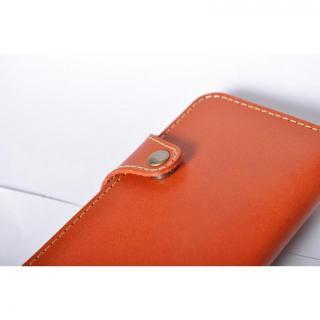 【iPhone6ケース】栃木レザー手帳型左開きケース HUKURO オレンジ iPhone 6_5