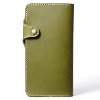 栃木レザー手帳型左開きケース HUKURO グリーン iPhone 6 Plus