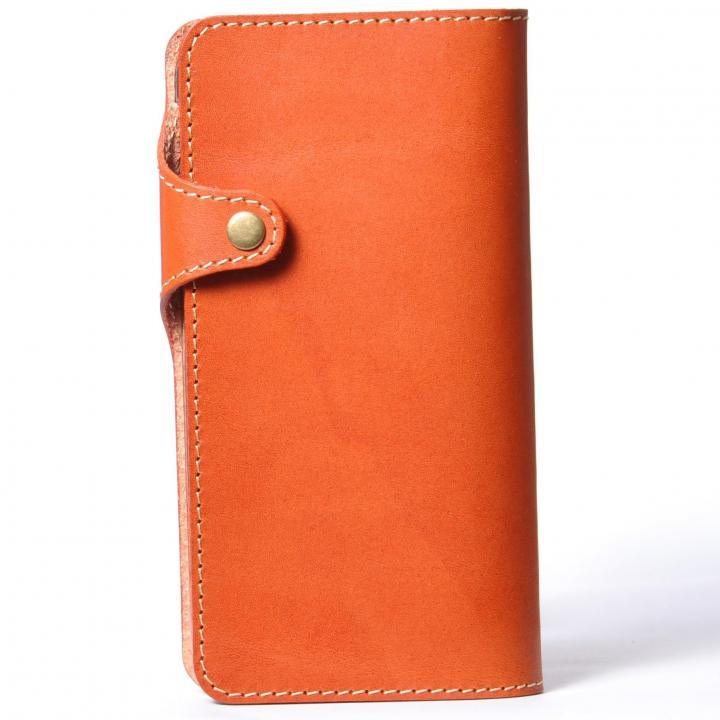 【iPhone6 Plusケース】栃木レザー手帳型左開きケース HUKURO オレンジ iPhone 6 Plus_0