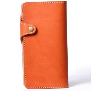【iPhone6 Plusケース】栃木レザー手帳型左開きケース HUKURO オレンジ iPhone 6 Plus
