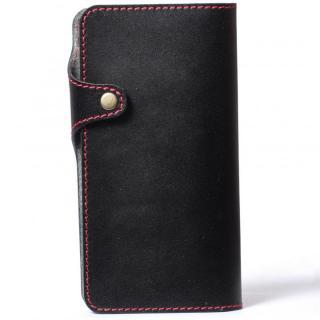 栃木レザー手帳型左開きケース HUKURO ブラック iPhone 6 Plus