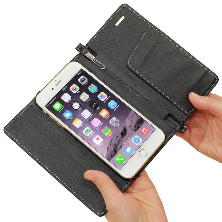 Su-Penホルダー付手帳型ケース ブラック iPhone 6s Plus/6 Plus