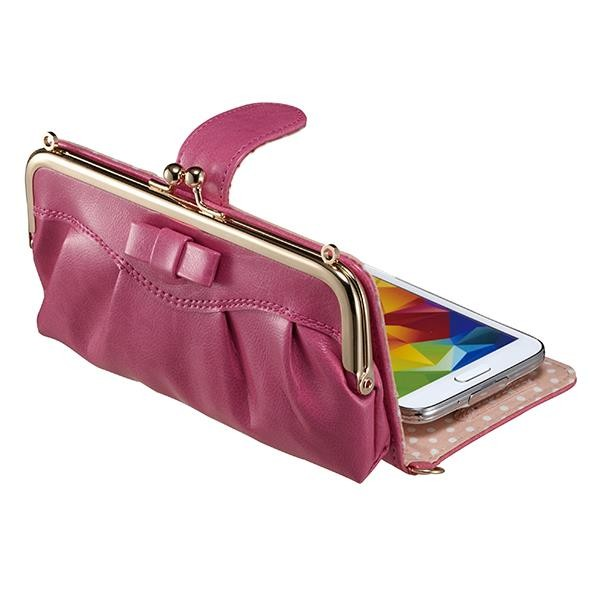 Dress GAMACO がま口ポケット付き手帳型ケース ピンク 多機種(iPhone/Android)対応
