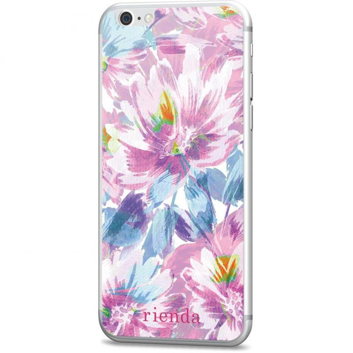 iPhone6s/6 フィルム rienda 背面強化ガラス Bright flower ピンク iPhone 6s/6_0