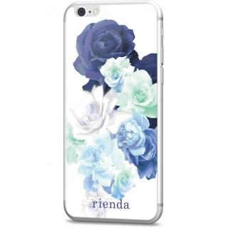 rienda 背面強化ガラス Gradation flower ブルー iPhone 6s/6