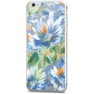rienda 背面強化ガラス Bright flower ブルー iPhone 6s/6