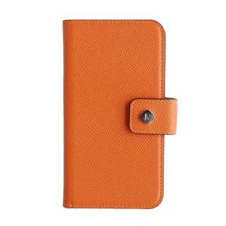 ドイツ製本革使用手帳型ケース invite.L Stud オレンジ iPhone 6
