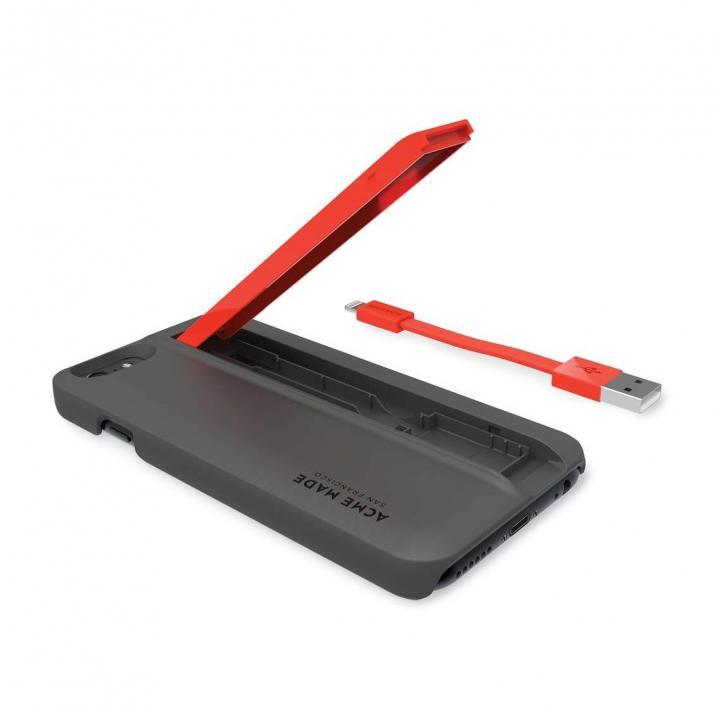 【iPhone6ケース】Lightningケーブル付きケース Charge グレイ/オレンジ iPhone 6_0