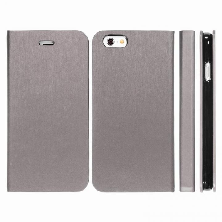Highend Berryオリジナル 合皮手帳型ケース シルバーグレー iPhone 6