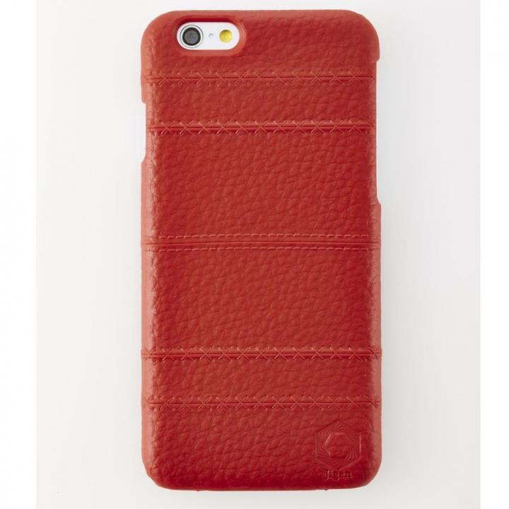 次元シリーズ 縫 3Dテクスチャー カードポケットケース 朱 iPhone 6