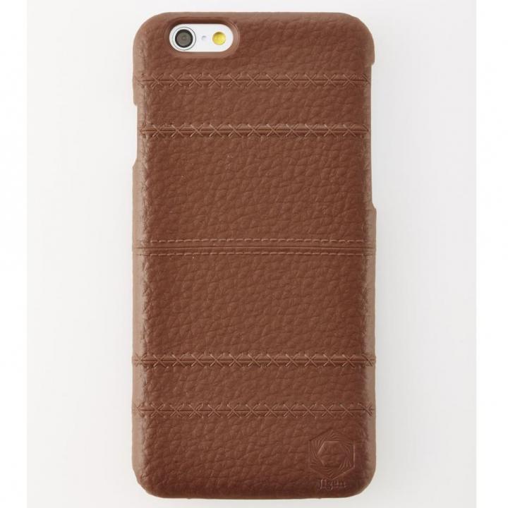 iPhone6 ケース 次元シリーズ 縫 3Dテクスチャー カードポケットケース 黒茶 iPhone 6_0