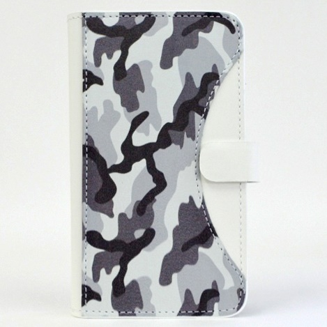 iPhone6/SE/5s/5 ケース mobakawa mbook 本革手帳型ケース Mサイズ ホワイトカモフラージュ 多機種(iPhone/Android)対応_0