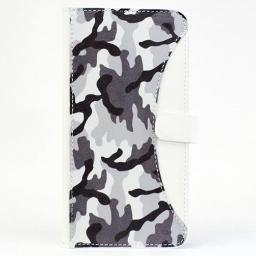 iPhone6/6 Plus ケース mobakawa mbook 本革手帳型ケース Lサイズ ホワイトカモフラージュ 多機種(iPhone/Android)対応_0