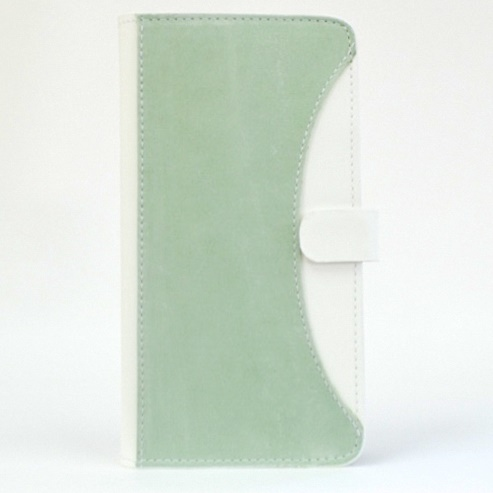 iPhone6/6 Plus ケース mobakawa mbook 本革手帳型ケース Lサイズ アッシュミント 多機種(iPhone/Android)対応_0
