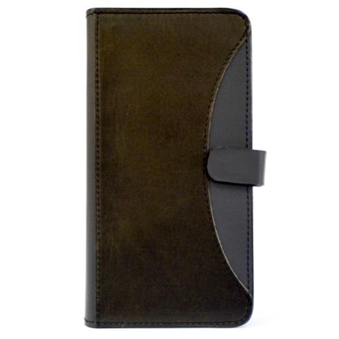 iPhone6/6 Plus ケース mobakawa mbook 本革手帳型ケース Lサイズ イタリアンホースブラック 多機種(iPhone/Android)対応_0