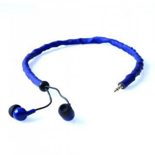 コード絡み完全解消系イヤホン Cord Cruncher ブルー(リモコンマイク付き)