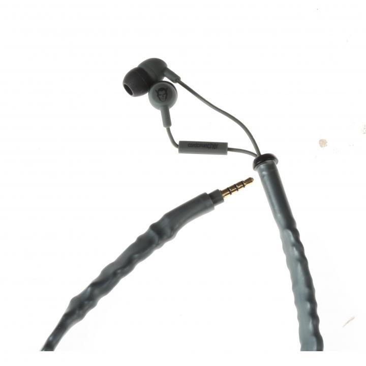 コード絡み完全解消系イヤホン Cord Cruncher グレイ(リモコンマイク付き)_0