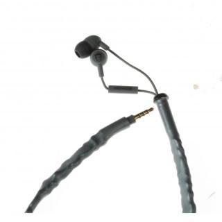 コード絡み完全解消系イヤホン Cord Cruncher グレイ(リモコンマイク付き)