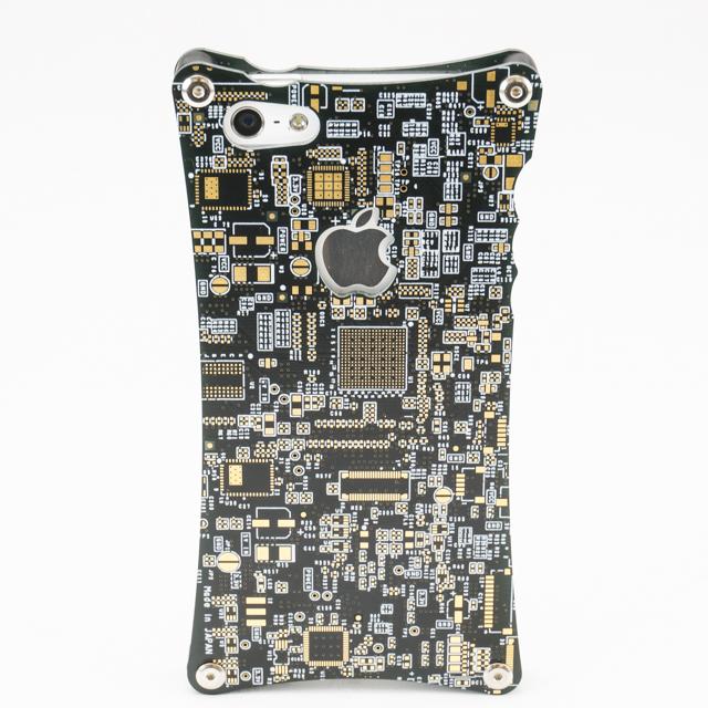 【iPhone SE/5s/5ケース】リアルプリントキバンiPhone5s/5ケース・黒+金フラッシュ×フローティングボス_0